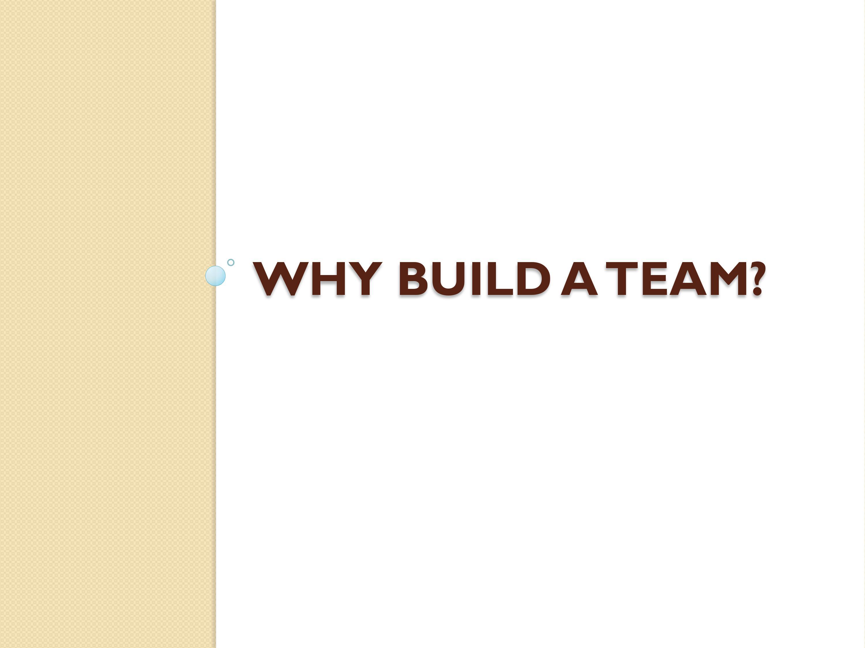 Why Build A Team