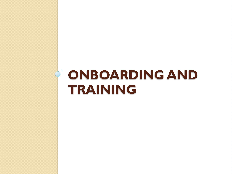 Onboarding & Training